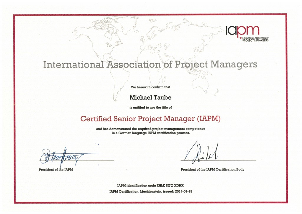 IAPM Certified Senior Project Manager