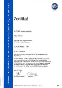 Zertifikat Scrum Master Anke Thieme