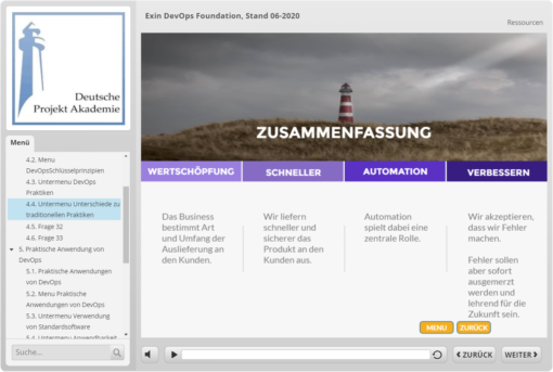 Beispielseite des Lernprogramms EXIN DevOps Foundation
