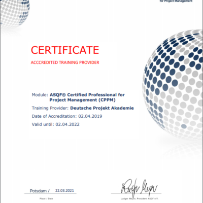 Akkreditierung der Deutsche Projekt Akademie für ASQF